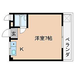 近鉄大阪線 桜井駅 徒歩2分の賃貸マンション 4階ワンルームの間取り
