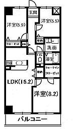 キャッスルコート東辻井[8階]の間取り