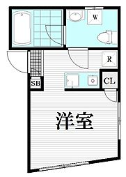 小田急小田原線 千歳船橋駅 徒歩12分の賃貸マンション 5階ワンルームの間取り