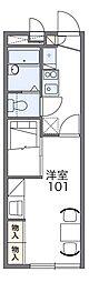 南海高野線 河内長野駅 徒歩15分の賃貸アパート 1階1Kの間取り