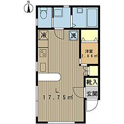 ルーデンス浜浦 1階ワンルームの間取り