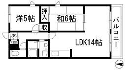 兵庫県宝塚市小林4丁目の賃貸アパートの間取り