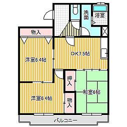 愛知県あま市七宝町桂角田の賃貸マンションの間取り
