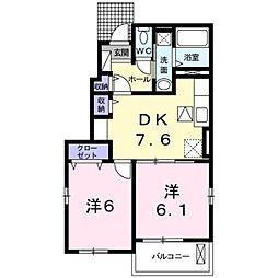 伊予鉄道高浜線 三津駅 徒歩10分の賃貸アパート 1階2DKの間取り
