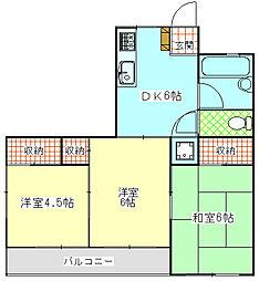 神奈川県横須賀市久里浜7丁目の賃貸マンションの間取り