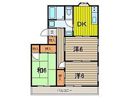 埼玉県さいたま市浦和区神明1丁目の賃貸アパートの間取り