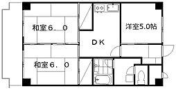 レジオン田辺[9階]の間取り