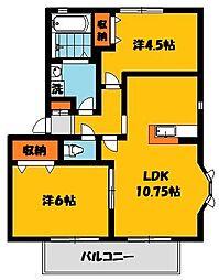 ソレジオタウン西川田C[2階]の間取り