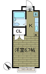 東京都町田市中町3丁目の賃貸アパートの間取り