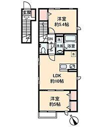 神奈川県川崎市中原区宮内3丁目の賃貸アパートの間取り