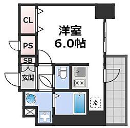 スプランディッド難波元町DUE 8階1Kの間取り
