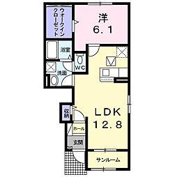 小田急小田原線 鶴川駅 バス5分 鶴川市民センター入口下車 徒歩4分の賃貸アパート 1階1LDKの間取り