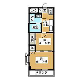 宮城県仙台市若林区三百人町の賃貸マンションの間取り