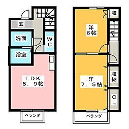 Boon Erf横川B棟[1階]の間取り