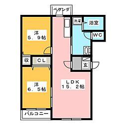 ヒーローマンションやすき[1階]の間取り