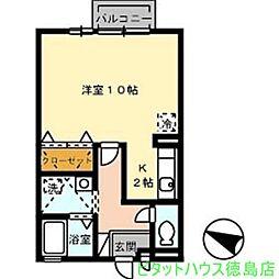 ジュネス吉岡[208号室]の間取り