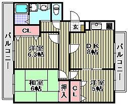 コスモコート岸豊[208号室]の間取り