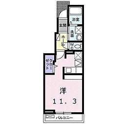 ヴァンベールII 1階1Kの間取り