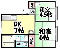 大阪府堺市西区浜寺元町3丁の賃貸アパートの間取り