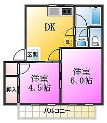 第1コーポオオタカ[203号室]の間取り