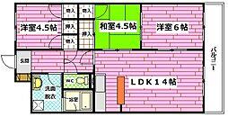 広島県広島市安佐南区祇園3丁目の賃貸マンションの間取り