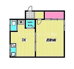 JR中央本線 東小金井駅 徒歩13分の賃貸アパート 2階1DKの間取り