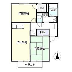 ガーデンホームズ柴田II番館 2階2DKの間取り