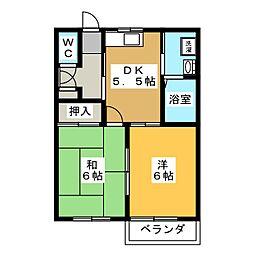 エーリ井山 A[2階]の間取り
