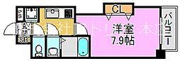 Luxe長田 6階1Kの間取り