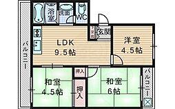 コーポ緑地 4階3LDKの間取り