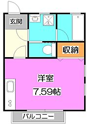 東京都練馬区高野台2丁目の賃貸アパートの間取り