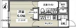 ベルメント東逆井[201号室号室]の間取り
