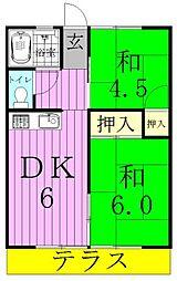 千葉県松戸市六高台西の賃貸アパートの間取り