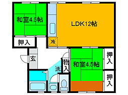 麻生台団地 38号棟[3階]の間取り