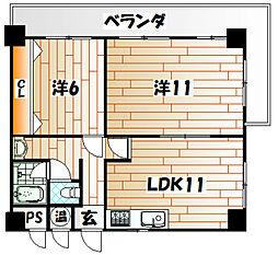 江南町スカイマンション[11階]の間取り