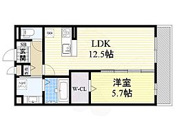 (仮称)東淀川区山本ハイツ 3階1LDKの間取り