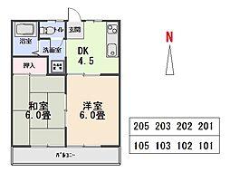 板橋ハイツA[102号室]の間取り