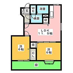 ノーヴァB[1階]の間取り
