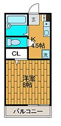 神奈川県相模原市中央区由野台1丁目の賃貸アパートの間取り