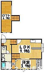 福岡市地下鉄空港線 祇園駅 徒歩15分の賃貸アパート 1階1SLDKの間取り