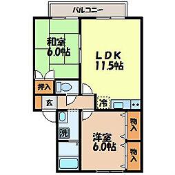 長崎県諫早市川内町の賃貸アパートの間取り