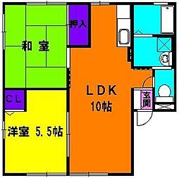 静岡県磐田市池田の賃貸アパートの間取り