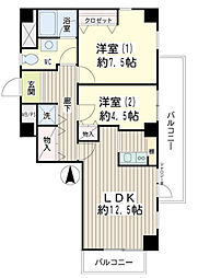 神奈川県横浜市鶴見区潮田町2丁目の賃貸マンションの間取り