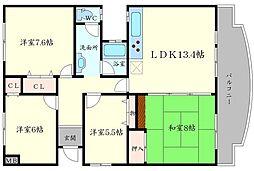 上野坂グリーンII[6階]の間取り