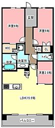 静岡県浜松市浜北区貴布祢の賃貸マンションの間取り