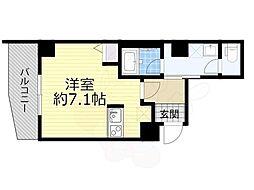 京阪本線 森小路駅 徒歩1分の賃貸マンション 3階ワンルームの間取り