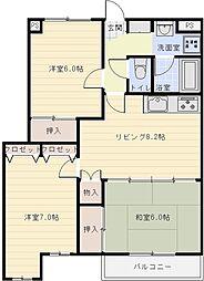 大阪府八尾市天王寺屋7丁目の賃貸マンションの間取り