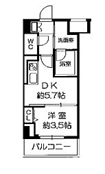 Osaka Metro長堀鶴見緑地線 西長堀駅 徒歩3分の賃貸マンション 8階1DKの間取り