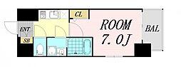 エスプレイス大阪リバーテラス 2階1Kの間取り