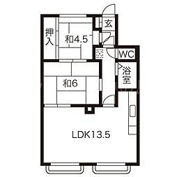 北海道札幌市豊平区平岸三条5丁目の賃貸アパートの間取り